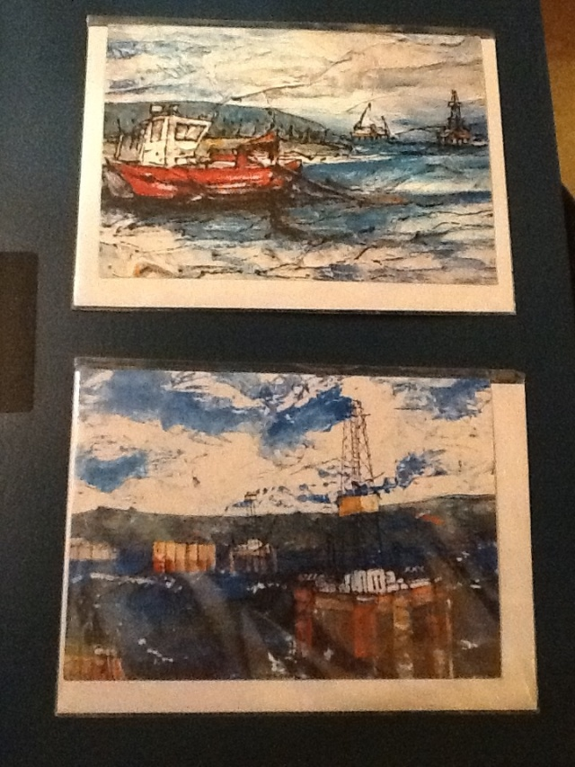 Sheenagh Harrison cards depicting fabricated oil infrastructure moving through the Cromarty Firth.