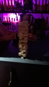 Benefits of interdisciplinary collaboration - hanging out with engineers and quantitative risk analysts leads to formidable Jenga towers.