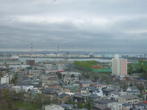 View from Tomakomai City Hall towards the refinery, CO2 capture plant and storage site